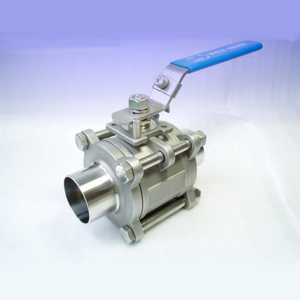 3-Piece Sanitary Ball Valve Welded Plain Ends
