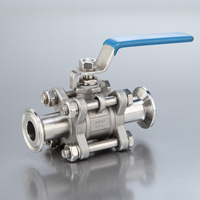 Sanitary 3-Piece Stainless Ball Valve Clamp End